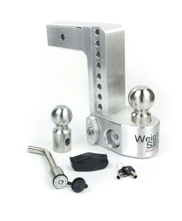 "WS8-2.5-KA 2.5"" shank - 8"" Drop/9"" Rise Weigh Safe Adjustable Hitch w/Tongue Scale"